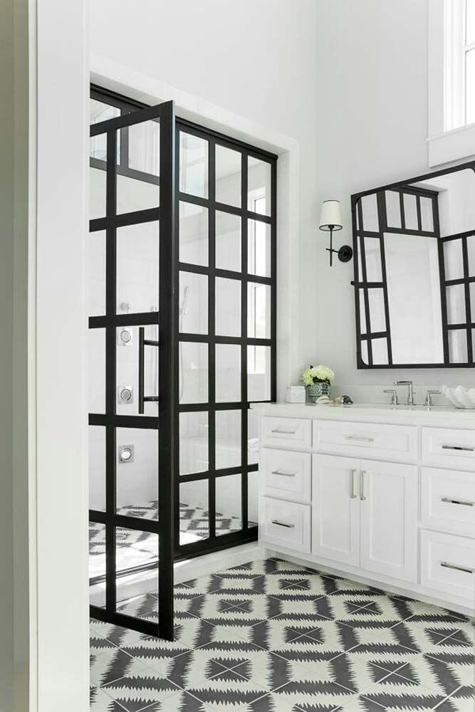 series modern framed industrial door shower light black with panes bathroom gridscape of pin featuring coastal divided master doors true multiple